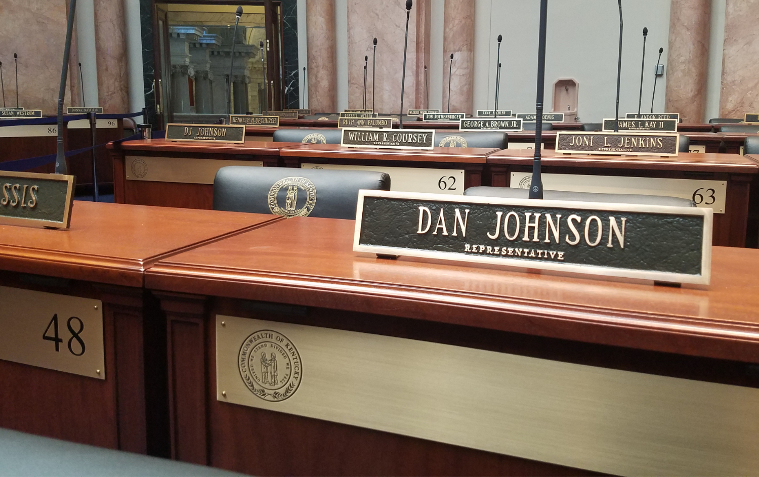 Johnson's nameplate in the state capitol. (Ryland Barton)